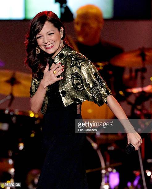 Singer Natalia Lafourcade performs onstage during the 2012 Latin Recording Academy Person Of The Year honoring Caetano Veloso at the MGM Grand Garden...