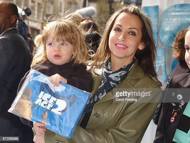 Singer Natalie Appleton and her son Ace Howlett arrive at the UK Premiere of 'Ice Age 2 The Meltdown' at the Empire Leicester Square on April 2 2006...
