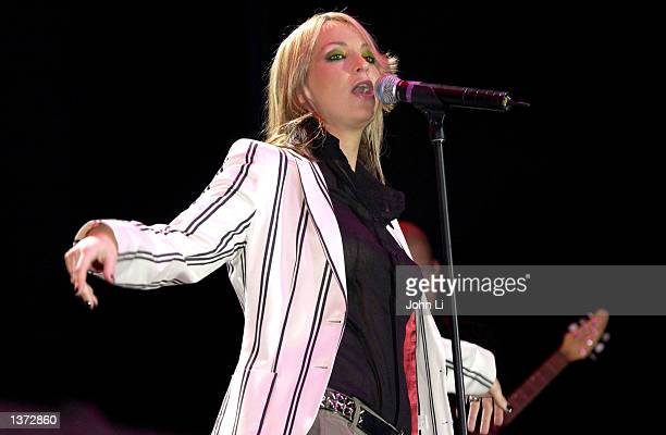 Singer Natalie Appleton of the Appleton sisters performs at Chris Tarrant's Capital Request concert at Wembley Arena September 7 2002 in London The...