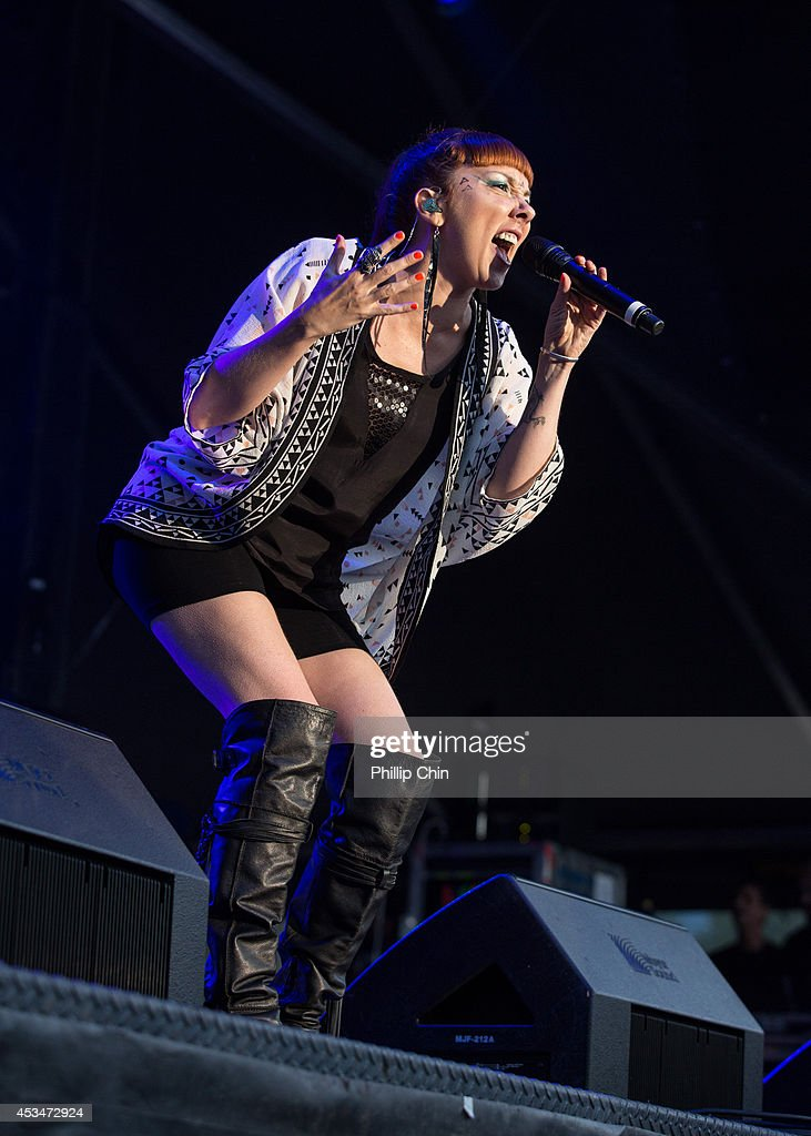 Singer Natalie Clavier of Thievery Corporation performs at the Squamish Valley Music Festival on August 10, 2014 in Squamish, Canada.