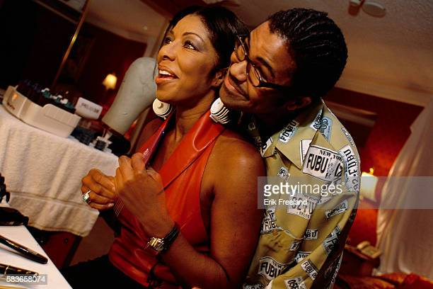 Singer Natalie Cole spends time with her son Robbie Yancy before a performance at Bally's Atlantic City circa 1995