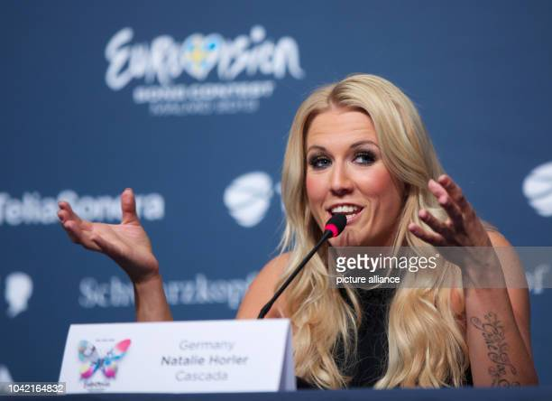 Singer Natalie Horler from the band Cascada representing Germany poses during a press conference at the Eurovision Song Contest 2013 in Malmo Sweden...