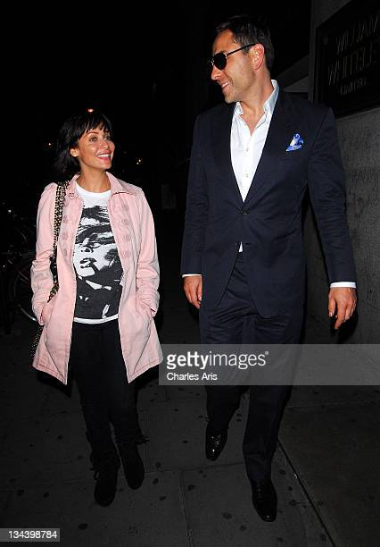 Singer Natalie Imbruglia and comedian David Walliams depart Kelly Hoppen's 50th birthday party at All Star Lanes on July 28 2009 in London England