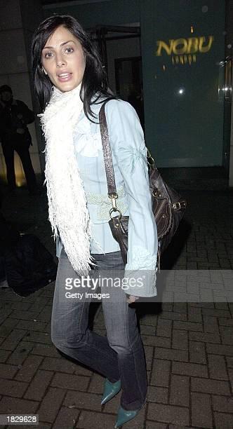 Singer Natalie Imbruglia leaves the Nobu restaurant on March 4, 2003 in London, England.