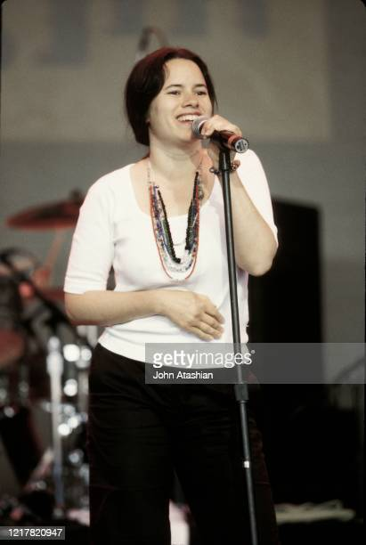 Singer Natalie Merchant is shown performing on stage during a live concert appearance on June 5 1999