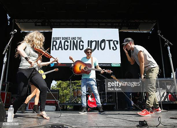 Singer Natalie Stovall Producer Eddie and radio personality Bobby Bones of Bobby Bones and The Raging Idiots perform live during the 2016 Daytime...