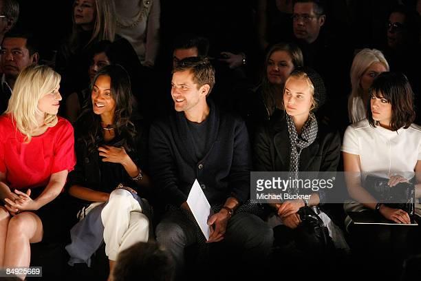 Singer Natasha Bedingfield actress Zoe Saldana actor Joshua Jackson actress Diane Kruger and actress Selma Blair attend the Tommy Hilfiger Fall 2009...