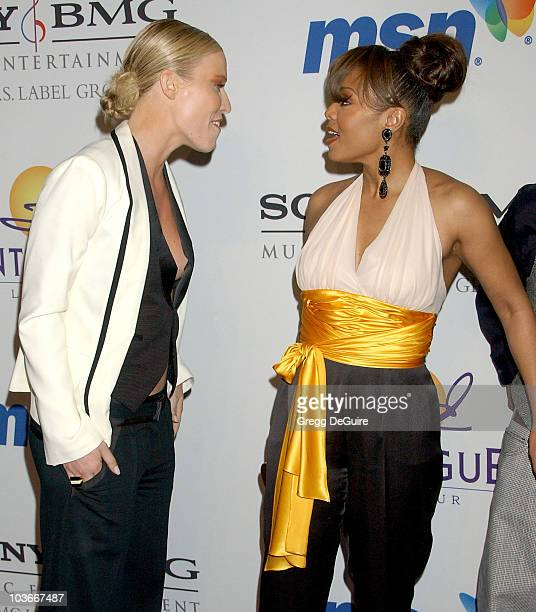 Singer Natasha Bedingfield and actress/singer Janet Jackson attends the 2008 Clive Davis PreGRAMMY party at the Beverly Hilton Hotel on February 9...