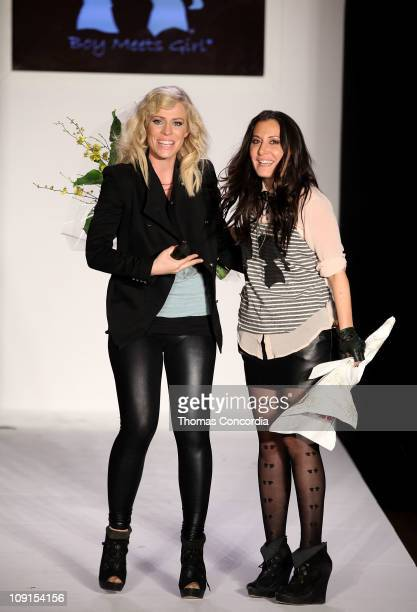 Singer Natasha Bedingfield and designer Stacy Igel attend Boy Meets Girl 2011 Fall Collection Fashion Show At NYC Fashion Week STYLE360 presented by...