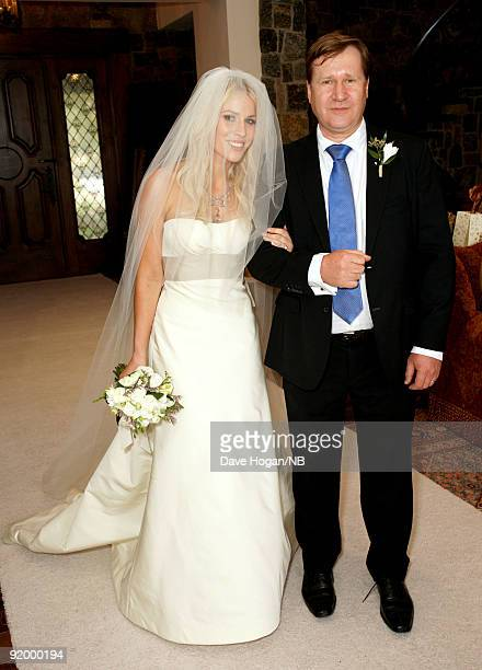 Singer Natasha Bedingfield and father John Bedingfield during her wedding ceremony between her and Matt Robinson held at Church Estate Vinyards on...