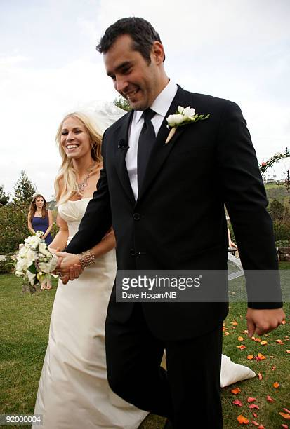 Singer Natasha Bedingfield and Matt Robinson during their wedding ceremony held at Church Estate Vinyards on March 21 2009 in Malibu California