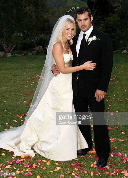 Singer Natasha Bedingfield and Matt Robinson pose during the wedding ceremony held at Church Estate Vinyards on March 21 2009 in Malibu California