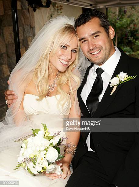 Singer Natasha Bedingfield and Matt Robinson pose during their wedding ceremony held at Church Estate Vinyards on March 21 2009 in Malibu California