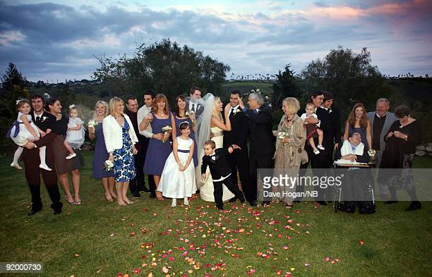 Singer Natasha Bedingfield and Matt Robinson pose with friends and family during their wedding ceremony held at Church Estate Vinyards on March 21...