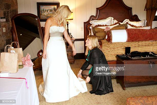 Singer Natasha Bedingfield and mother Molly Bedingfield before the wedding ceremony between her and Matt Robinson held at Church Estate Vinyards on...