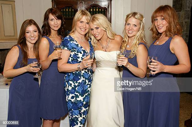 Singer Natasha Bedingfield and mother Molly Bedingfield with bridesmades Bekah Lebeau Beth Redman Karin Myrin and Nikola Kolvet pose before the...