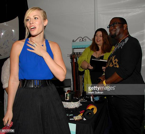 Singer Natasha Bedingfield and Randy Jackson attend the Mattel Celebrity Retreat produced by Backstage Creations at Teen Choice 2008 on August 3 2008...