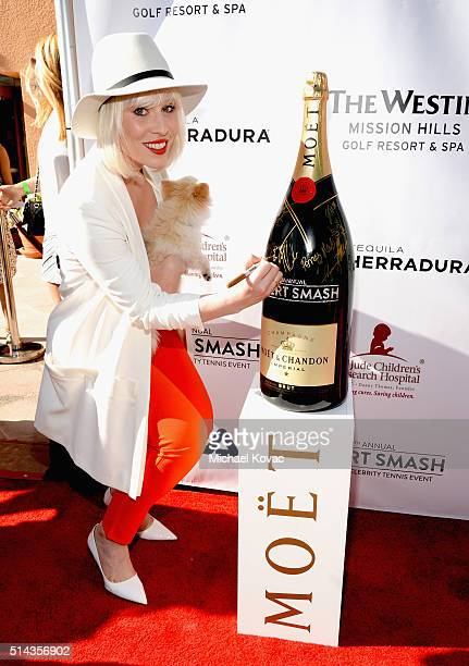 Singer Natasha Bedingfield celebrates with Moet Chandon at the 12th annual Desert Smash at the Westin Mission Hills Golf Resort and Spa on March 8...