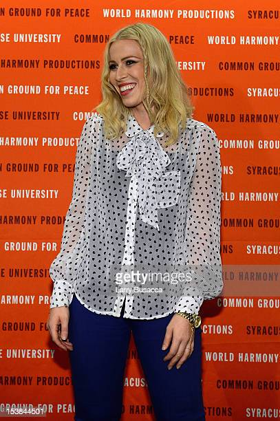 Singer Natasha Bedingfield speaks at the One World Concert at Syracuse University on October 9 2012 in Syracuse New York