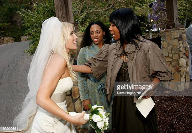 Singer Natasha Bedingfield speaks to guests during her wedding ceremony to Matt Robinson held at Church Estate Vinyards on March 21 2009 in Malibu...