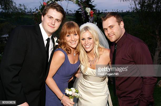 Singer Natasha Bedingfield with brother Josh Bedingfield sister Nikola Kolvet and brother Daniel Bedingfield pose after the wedding ceremony between...
