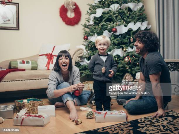 Singer Natasha StPier is photographed with her husband Gregory Quillacq and son Bixente for Paris Match on December 15 2017 in Bathurst New Brunswick