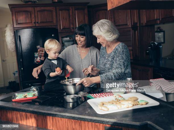 Singer Natasha StPier is photographed with her mother RoseMarie and her son Bixente are photographed for Paris Match on December 15 2017 in Bathurst...