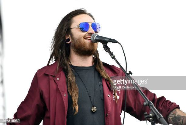 Singer Nathan Feinstein of the band Iya Terra performs onstage during day 1 of the One Love Cali Reggae Festival at The Queen Mary on February 10...