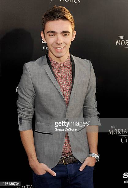 Singer Nathan Sykes of The Wanted arrives at the Los Angeles premiere of 'The Mortal Instruments City Of Bones' at ArcLight Cinemas Cinerama Dome on...