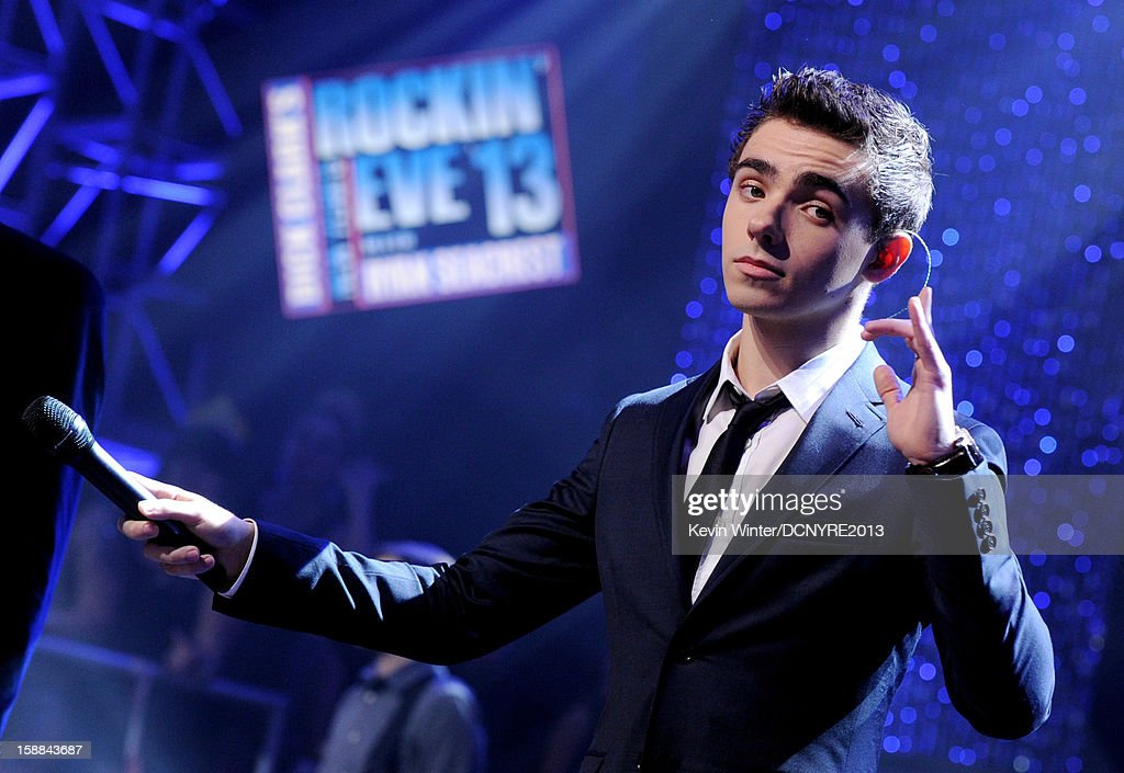 Singer Nathan Sykes of The Wanted performs on Dick Clark's New Year's Rockin' Eve at CBS studios on December 31, 2012 in Los Angeles, California.