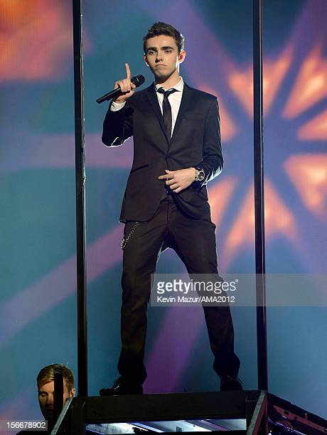 Singer Nathan Sykes of The Wanted performs onstage at the 40th American Music Awards held at Nokia Theatre LA Live on November 18 2012 in Los Angeles...