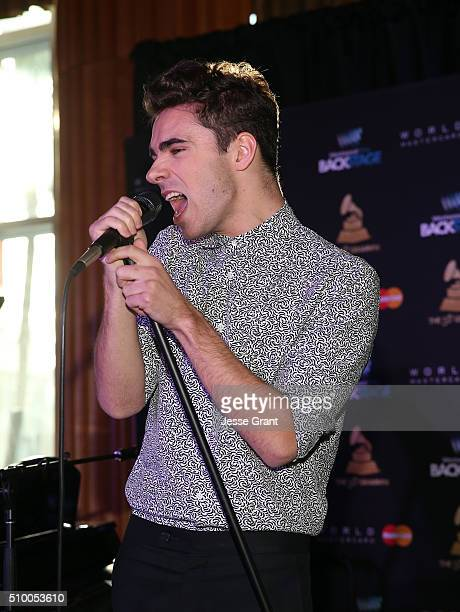 Singer Nathan Sykes performs during the Westwood One Radio Remotes during The 58th GRAMMY Awards at Staples Center on February 13 2016 in Los Angeles...