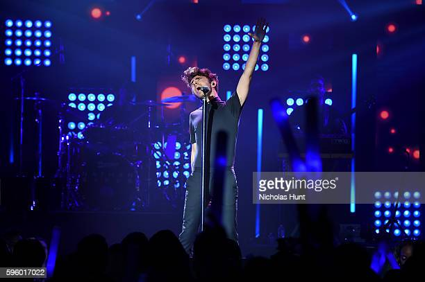 Singer Nathan Sykes performs onstage during an MTV VMA concert featuring Cash Cash Nathan Sykes and very special guest Flo Rida presented by Time...