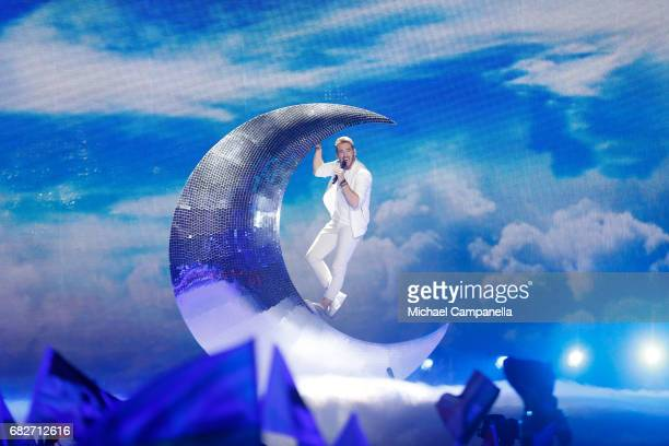 Singer Nathan Trent representing Austria performs the song 'Running On Air' during the final of the 62nd Eurovision Song Contest at International...