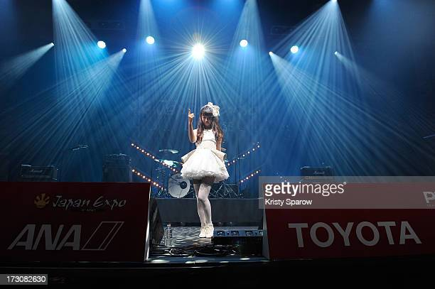 Singer Natsuko Aso performs during the JE live house 'TOYOTA x STUDIO4AC meets ANA PES' concert during the Japan Expo at Paris-nord Villepinte...