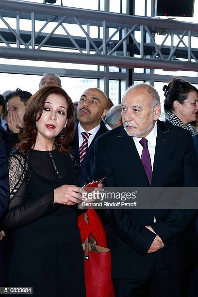 Singer Naziha Meftah and Writer Tahar Ben Jelloun attend King Mohammed VI of Morocco and French President Francois Hollande present the project to...