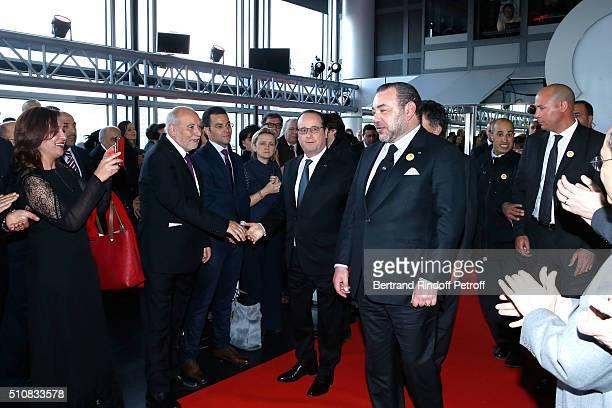 Singer Naziha Meftah Writer Tahar Ben Jelloun French President Francois Hollande and King Mohammed VI of Morocco attend King Mohammed VI of Morocco...