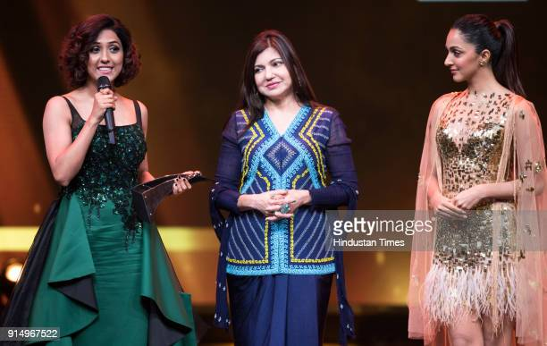 Singer Neeti Mohan recieves Most Stylish Music Star from singer Alka Yagnik and actor Kiara Advani during Hindustan Times India's Most Stylish Awards...
