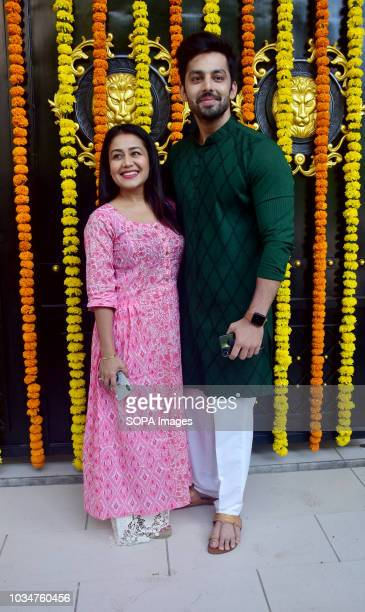 Singer Neha Kakkar with Himanshu Kohli seen at Ekta Kapoor house for Ganpati darshan in Mumbai
