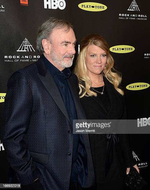 Singer Neil Diamond and Katie McNeil arrive at the 28th Annual Rock and Roll Hall of Fame Induction Ceremony at Nokia Theatre LA Live on April 18...