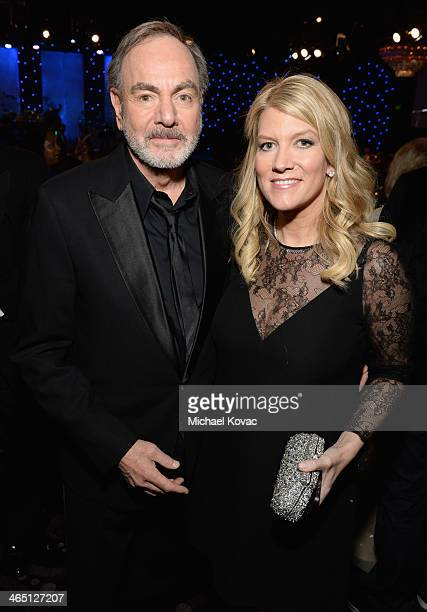 Singer Neil Diamond and Katie McNeil attend the 56th annual GRAMMY Awards PreGRAMMY Gala and Salute to Industry Icons honoring Lucian Grainge at The...