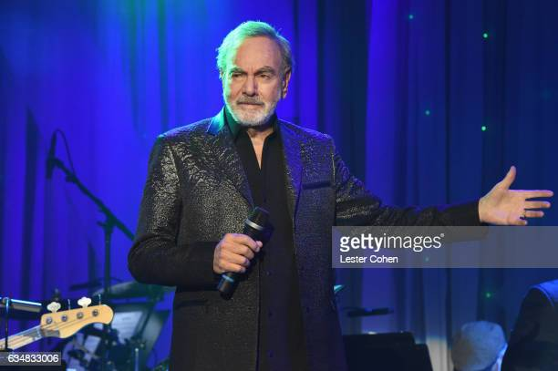 Singer Neil Diamond performs onstage at PreGRAMMY Gala and Salute to Industry Icons Honoring Debra Lee at The Beverly Hilton on February 11 2017 in...