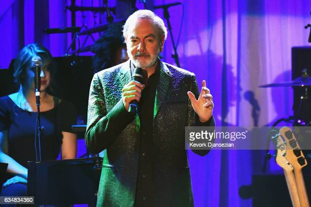 Singer Neil Diamond performs onstage at the PreGRAMMY Gala and Salute to Industry Icons Honoring Debra Lee at The Beverly Hilton on February 11 2017...