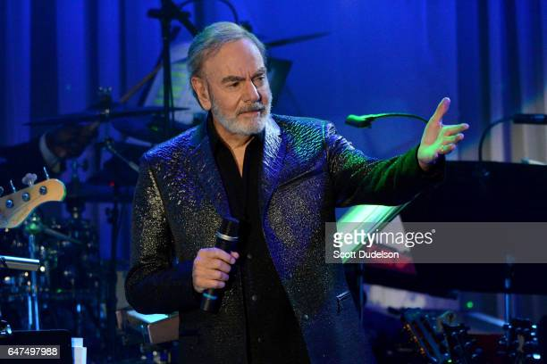 Singer Neil Diamond performs onstage during the 2017 PreGRAMMY Gala and Salute to Industry Icons at The Beverly Hilton Hotel on February 11 2017 in...