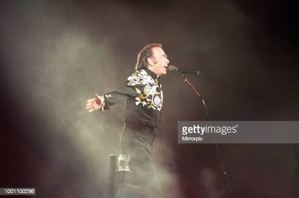 Singer Neil Diamond, pictured in concert at the Birmingham NEC, 7th July 1992.