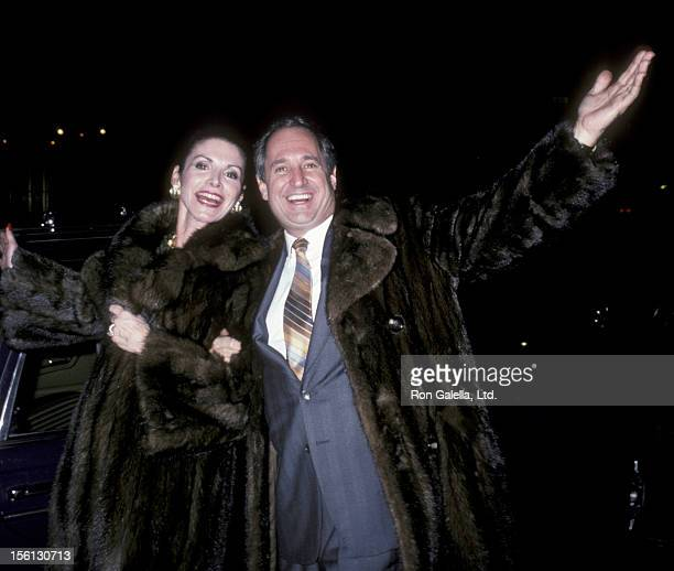 Singer Neil Sedaka and wife Leba Strassberg being photographed on December 14 1985 at Elaine's in New York City New York