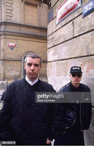 Singer Neil Tennant and keyboard player Chris Lowe of electronic pop duo the Pet Shop Boys Prague May 1991