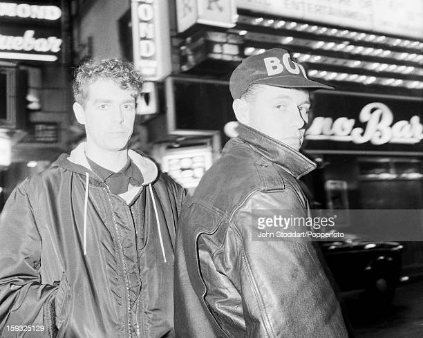 Singer Neil Tennant and keyboard player Chris Lowe of English electronic dance music duo the Pet Shop Boys outside the Raymond Revuebar in Soho...