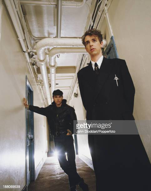 Singer Neil Tennant and keyboard player Chris Lowe of English electronic dance music duo the Pet Shop Boys circa 1985