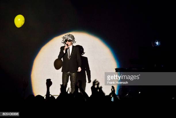 Singer Neil Tennant of the British band Pet Shop Boys performs live on stage during a concert at the MercedesBenz Arena on July 1 2017 in Berlin...